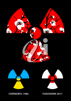 Sakura in the radiation symbol vector