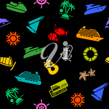 Seamless background, transport colorful icons on a black backdrop, wrapping paper. Vector illustration