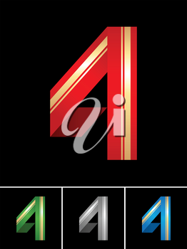 Origami font from coloured set paper ribbon-numeral 4, four