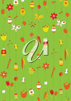 Green background with Easter eggs. wrapping paper
