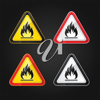 Hazard warning triangle highly flammable warning set sign on a metal surface