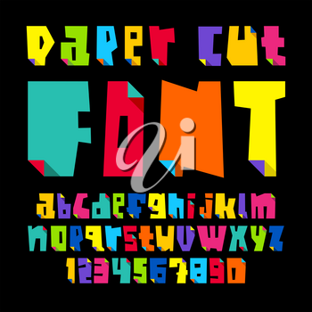 Colored letters, cut from paper with bent color angle, lower case