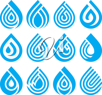 Set of bue different water drop vector icons. Design element for your logo