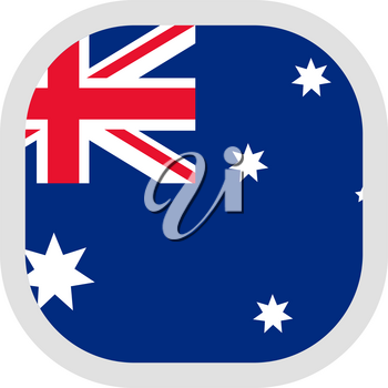 Flag of Commonwealth of Australia. Rounded square icon on white background, vector illustration.