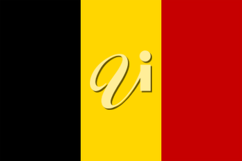 Flag of Belgium. Rectangular shape icon on white background, vector illustration.