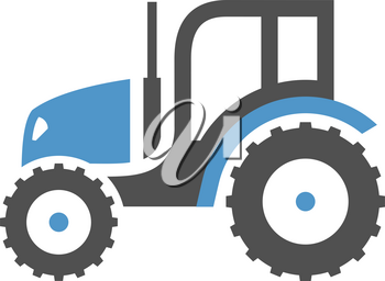 Tractor - gray blue icon isolated on white background