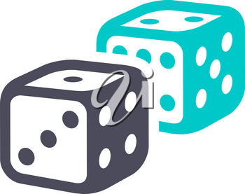 Dice, gray turquoise icon on a white background