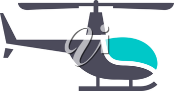 Helicopter icon, gray turquoise icon on a white background