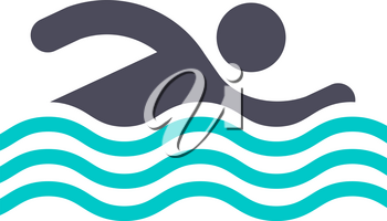 Swimming man, gray turquoise icon on a white background