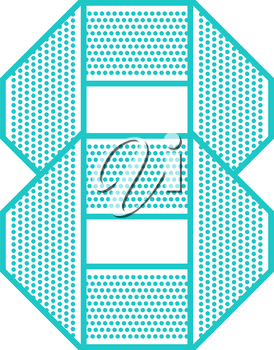 Trendy font folded from the perforated sheet. Flat alphabet, blue vector number eight on a white background.