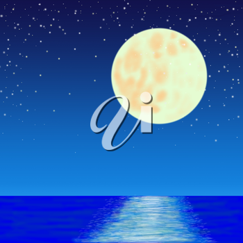 full moon and stars over sea