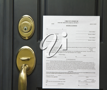 Official divorce summons posted on front door