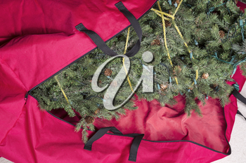 Large artificial Christmas tree being placed in red nylon zipper bag for next season
