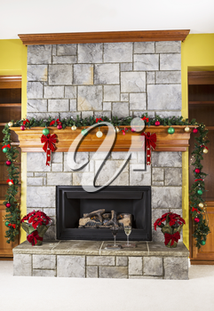 White and Red wine in front of natural gas fireplace for the holidays