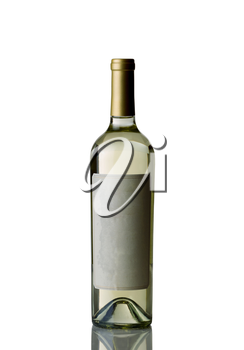 Vertical image of an unopened bottle of white wine isolated over white background with reflection