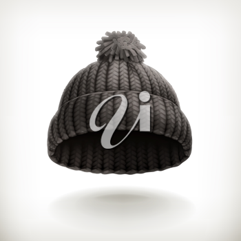 Knitted black cap, vector illustration