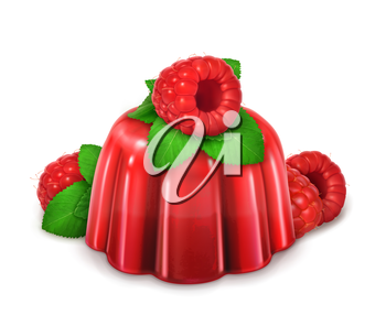 Raspberries and mint jelly, vector