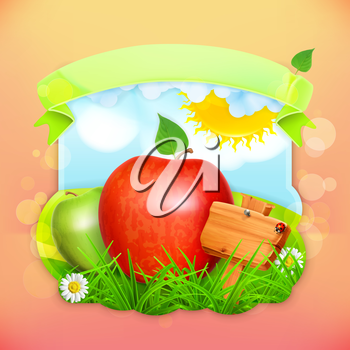 Fresh fruit label apple, vector illustration background for making design of a juice pack, jam jar etc