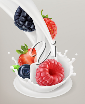 Milk splash and berry. 3d vector object. Natural dairy products