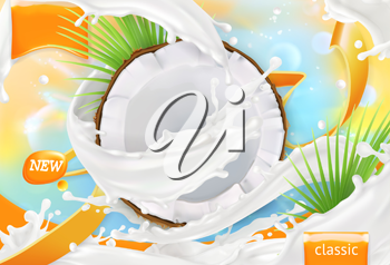 Coconut milk. White cream splash. 3d realistic vector, package design