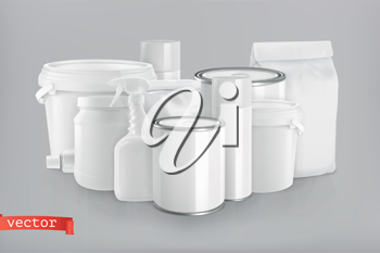 Packaging building and sanitary. White plastic, metal and paper pack. 3d realism, vector group