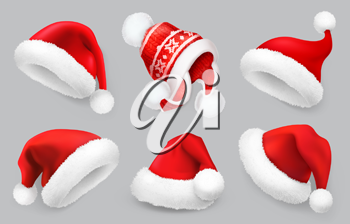 Santa Claus hat.Winter clothes. Christmas 3d realistic vector icon set