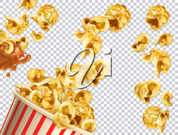 Popcorn with caramel vectorized image. 3d realistic vector set