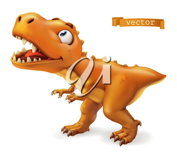 Tyrannosaurus. T. rex dinosaur cartoon character. Funny animal 3d vector icon