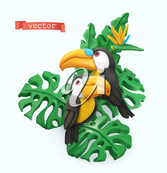 Pair of toucans and tropical leaves. Summer time concept. 3d vector objects. Plasticine art illustration