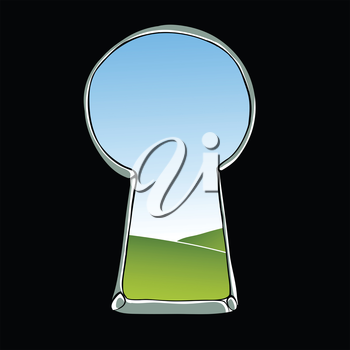 Keyhole illustration. View of landscape through keyhole. Vector.