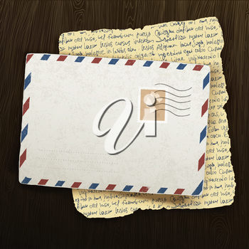 Vintage envelope and letter on wooden background. Vector illustration, EPS10