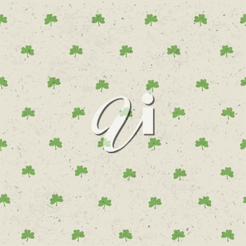 Clover leaf seamless pattern on paper texture. Vector, EPS10