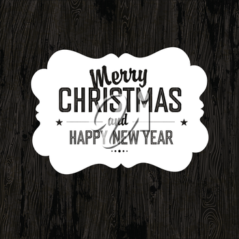 Merry Christmas Card With Dark Wooden Background, vector.