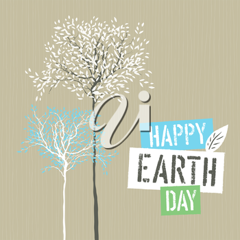 Happy Earth Day Logotype on Recycled paper background. Template for Celebrating card