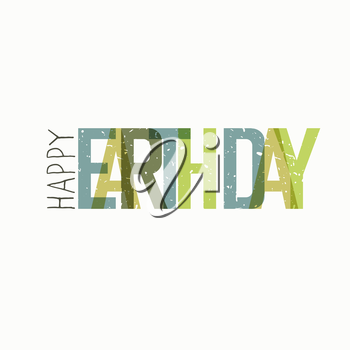 Earth Day Calebration Typography. Minimalistic logo for celebration. On white background