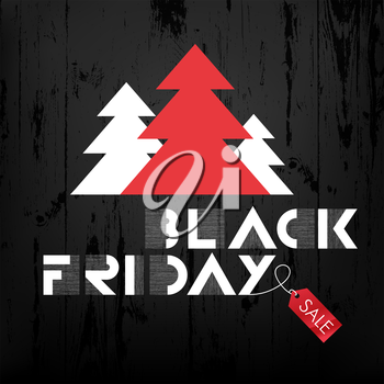 Black Friday sales Advertising Poster on Black Wooden background with Christmas trees and red label