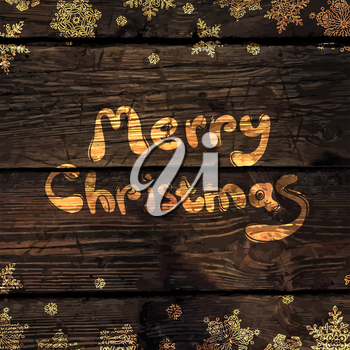 Christmas Greeting Card with Shining Gold Snowflakes on Wood Texture Abstract Background. Vector illustration