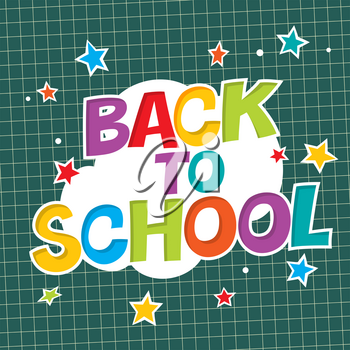 Back to school. Colorful poster with paper and stars. Comic alphabet.
