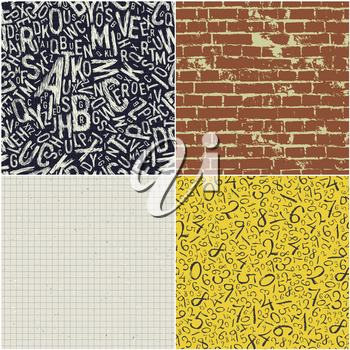 Four educational seamless patterns vector collection. Back to school backgrounds vector set