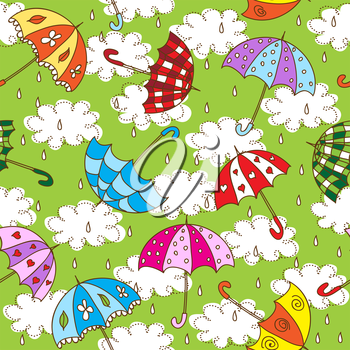 Seamless pattern with cute umbrellas