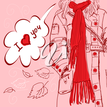 Valentine card. Girl with long red scarf says: I love you