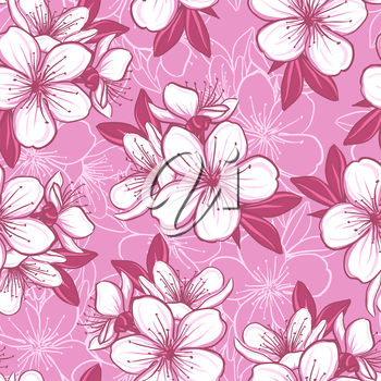 Decorative floral seamless pattern with cherry blossom