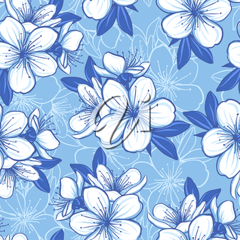 Decorative floral seamless pattern with blue flowers