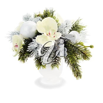 Christmas arrangement of Christmas balls, orchids, snowflakes, beads and pine branches isolated on white background