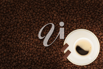 cup of coffee with chocolate pieces on coffee beans background