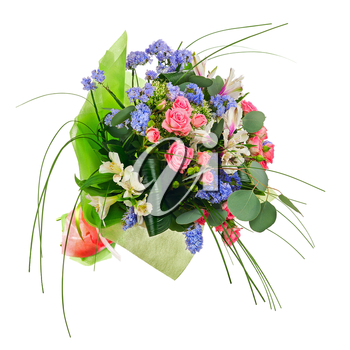 Flower bouquet from multi colored roses, lilies and other flowers isolated on white background.