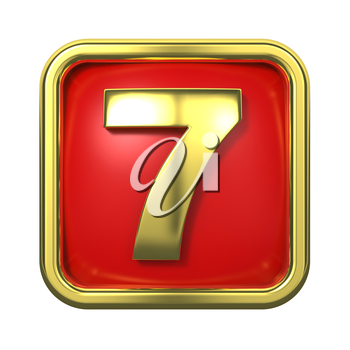 Gold Numbers in Frame, on Red Background - Number 7