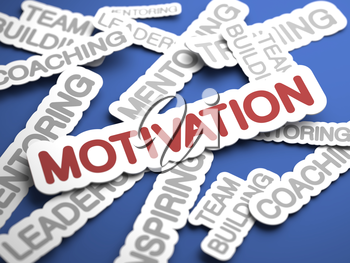 Motivation Text on Blue Background with Selective Focus. 3D Render.