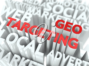 Geo Targeting Concept. The Word of Red Color Located over Text of White Color.