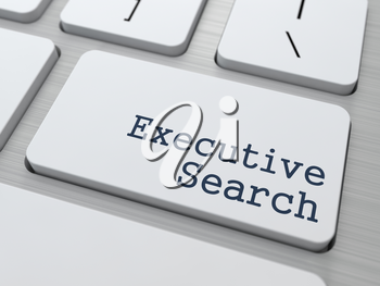 White Button with Executive Search on Computer Keyboard. Business Concept.